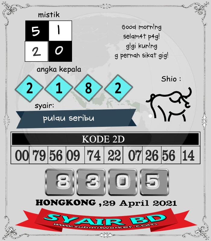 Syair BD Hongkong Kamis 29 April 2021