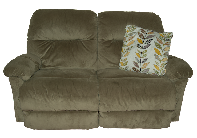A double reclining chair with soft green covering.