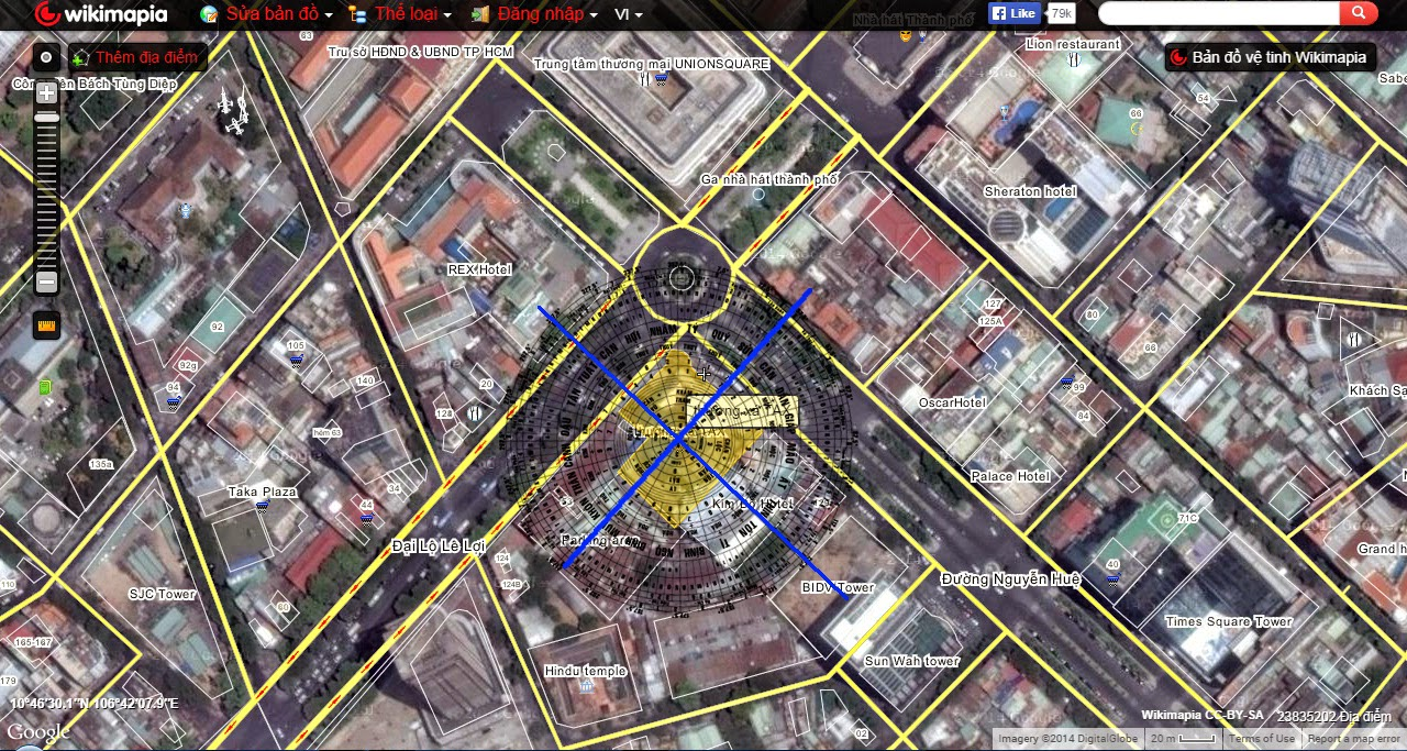 Sơ đồ vị trí Thương xá Tax từ ảnh vệ tinh Wikimapia