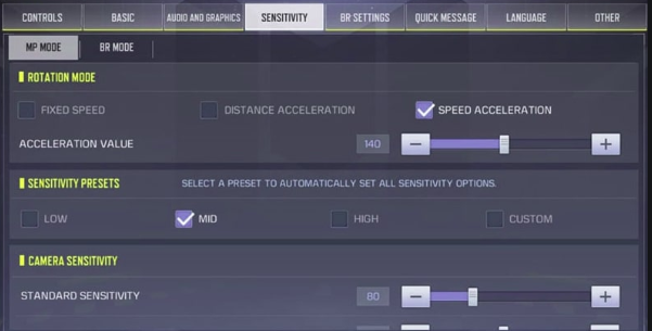 Setting Kontrol COD Mobile