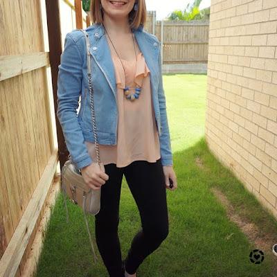 awayfromblue Instagram | double denim biker jacket with skinny jeans peach ruffle cami silver mini MAC bag