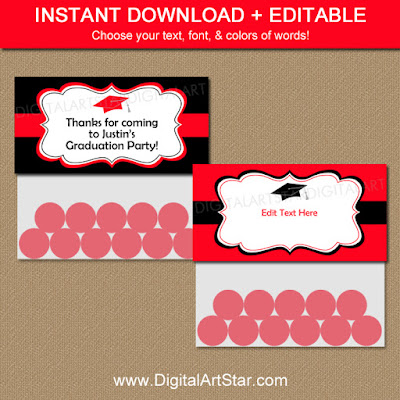 Editable Graduation bag topper template party printable