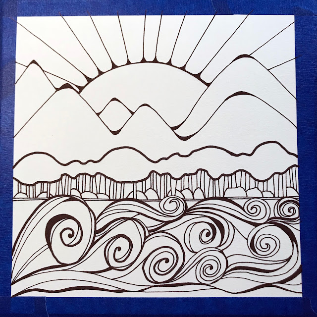 first landscape inked for Around the World Through Art, Alice Hendon