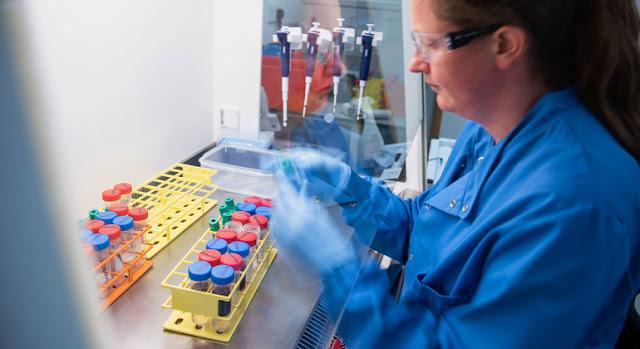 Expertos de la Universidad de Oxford revisan muestras de pacientes con COVID-19.University of Oxford/John Cairns