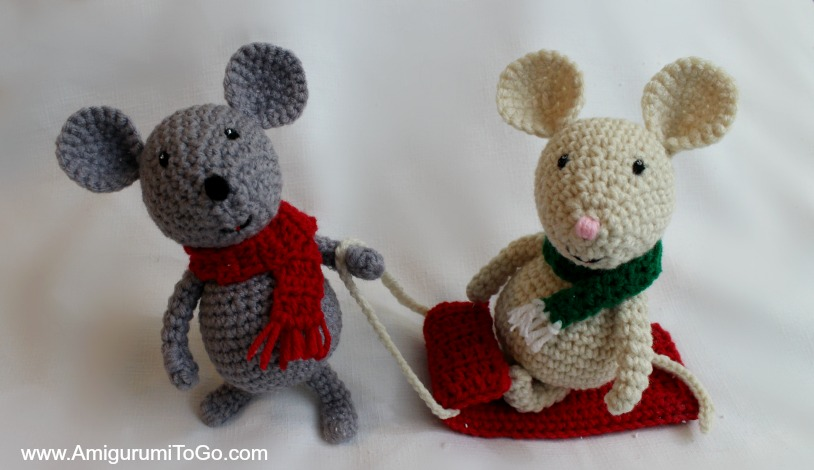 Amigurumi Mouse Pattern Crochet : Winter mouse and sled ~ amigurumi to go