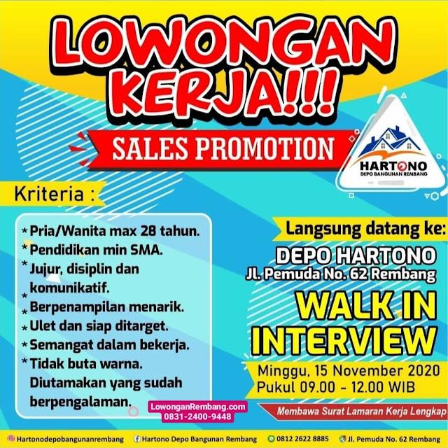 Lowongan Kerja Sales Promotion Toko Bangunan Depo Hartono Rembang