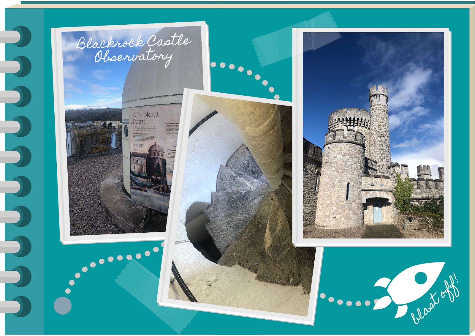 blue scrapbook featuring photos of Blackrock Castle Observatory, Cork