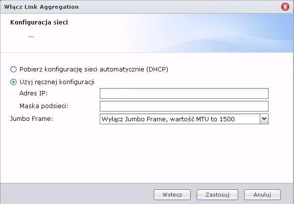Konfiguracja adresu IP dla zagregowanego łącza