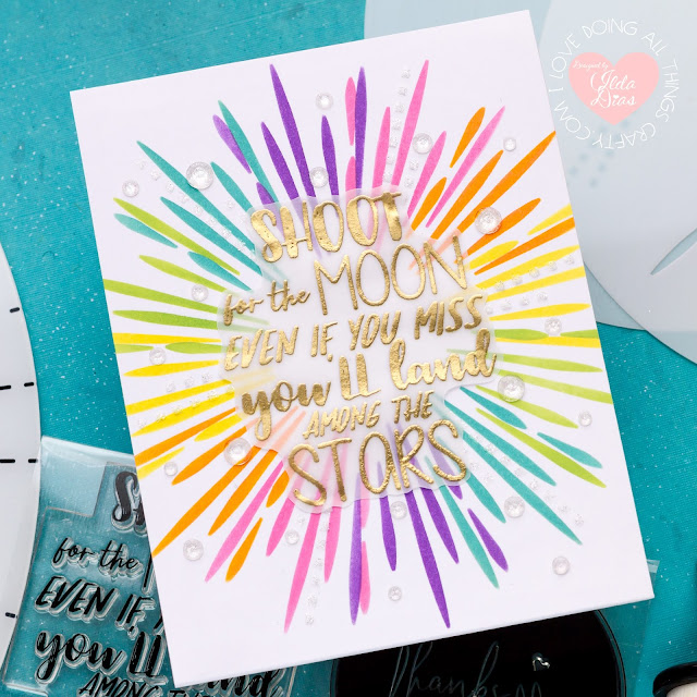 Magical Fireworks Stencils 360°™,Stencils 360°™, Starter Kit, Penguin Palace,Encouragement Rainbow Cards,Blog Hop,Card Making,Stamping, Die Cutting,handmade card, ilovedoingallthingscrafty, Stamps,distress oxide inks,Ink Blending,
