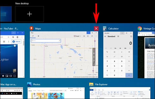 إغلاق نافذة في طريقة عرض مهام Windows 10 بالنقر فوق الزر X.
