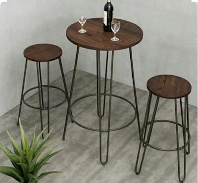 30 Desain Meja dan kursi cafe unik kombinasi kayu dan besi