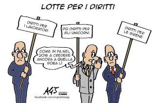 diritti del lavoro, lavoratori, credenze popolari, lavoro, vignetta, satira, articolo18