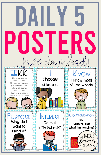 FREE Daily 5 EEKK and I Pick Poster Set. Perfect to hang in a classroom! #daily5 #classroomsetup #literacy #backtoschool #anchorcharts #freebies