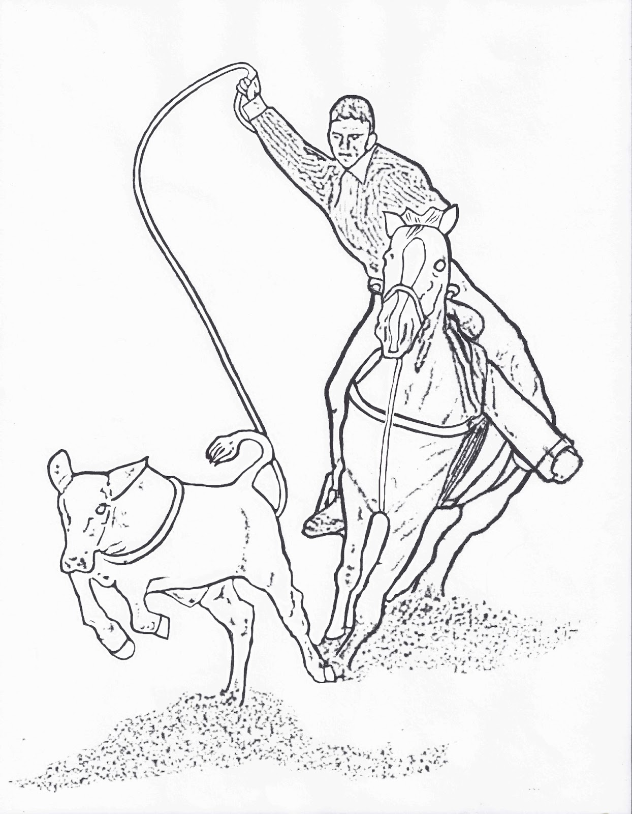 rodeo coloring pages calf roper color pagedancing