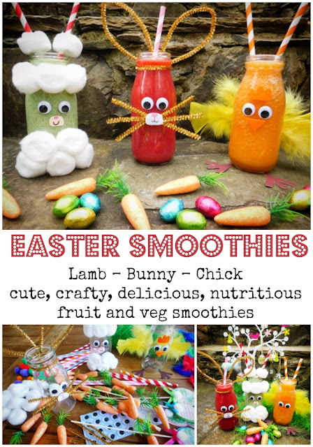 Easter craft and food combine in these oh so cute fruit and vegetable smoothies. Perfect for Easter breakfast or brunch and the ideal antidote to all those Chocolate Easter Eggs!