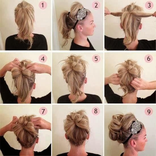 8 penteados de festa - Laço com coque e tiara