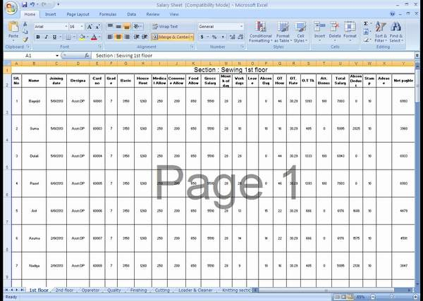 Salary Sheet MS Excel File Sample For HR Officer Compliance - Sample excel spreadsheet