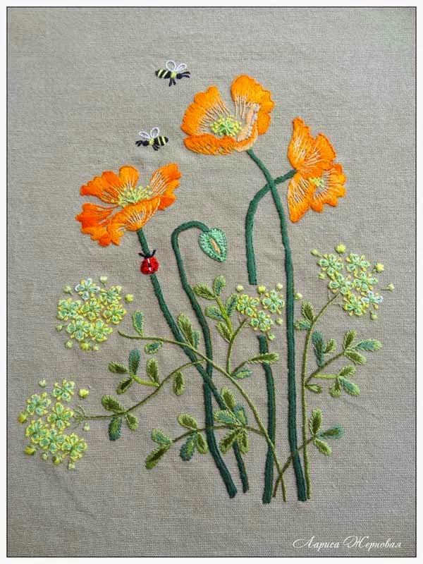 цветочная вышивка, японская вышивка