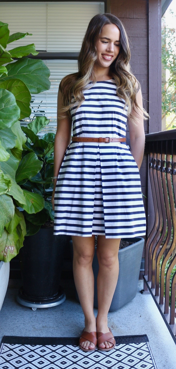 Jules in Flats July Outfits - Striped Fit and Flare Dress