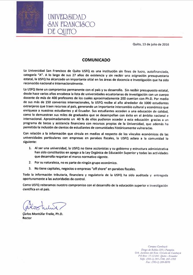 Comunicado Oficial Universidad San Francisco de Quito (USFQ)