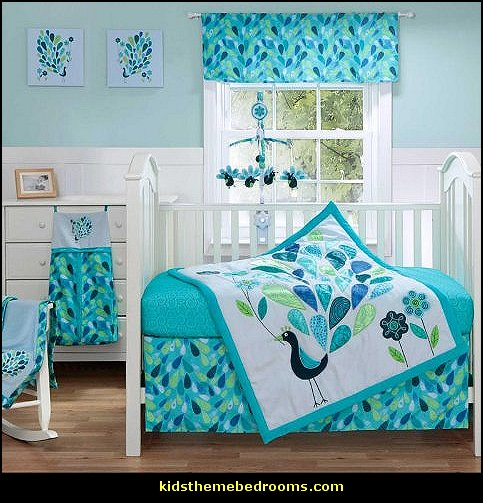 Baby Girl Nursery Removable Wallpaper Decorating Theme Bedrooms Maries Manor Peacock Theme