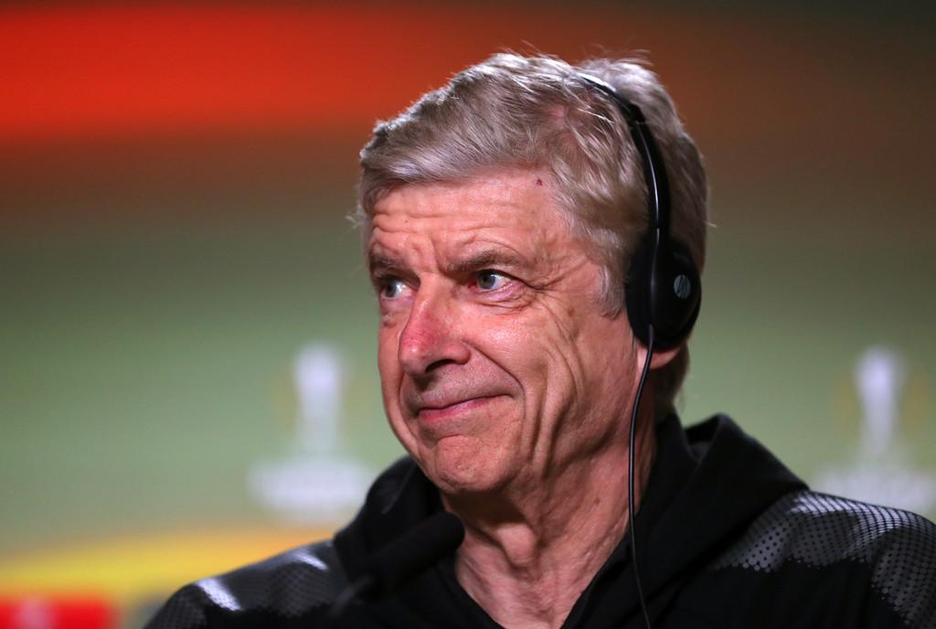 Arsenal manager Arsene Wenger speaks during an Arsenal Press Conference at Estadio Wanda Metropolitano on May 2, 2018 in Madrid, Spain