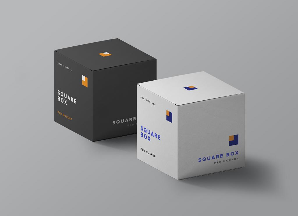 Square Boxes PSD Mockup