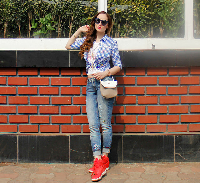 ONLY Check Shirt, Distressed Patch-work Jeans, Casual Chic Look