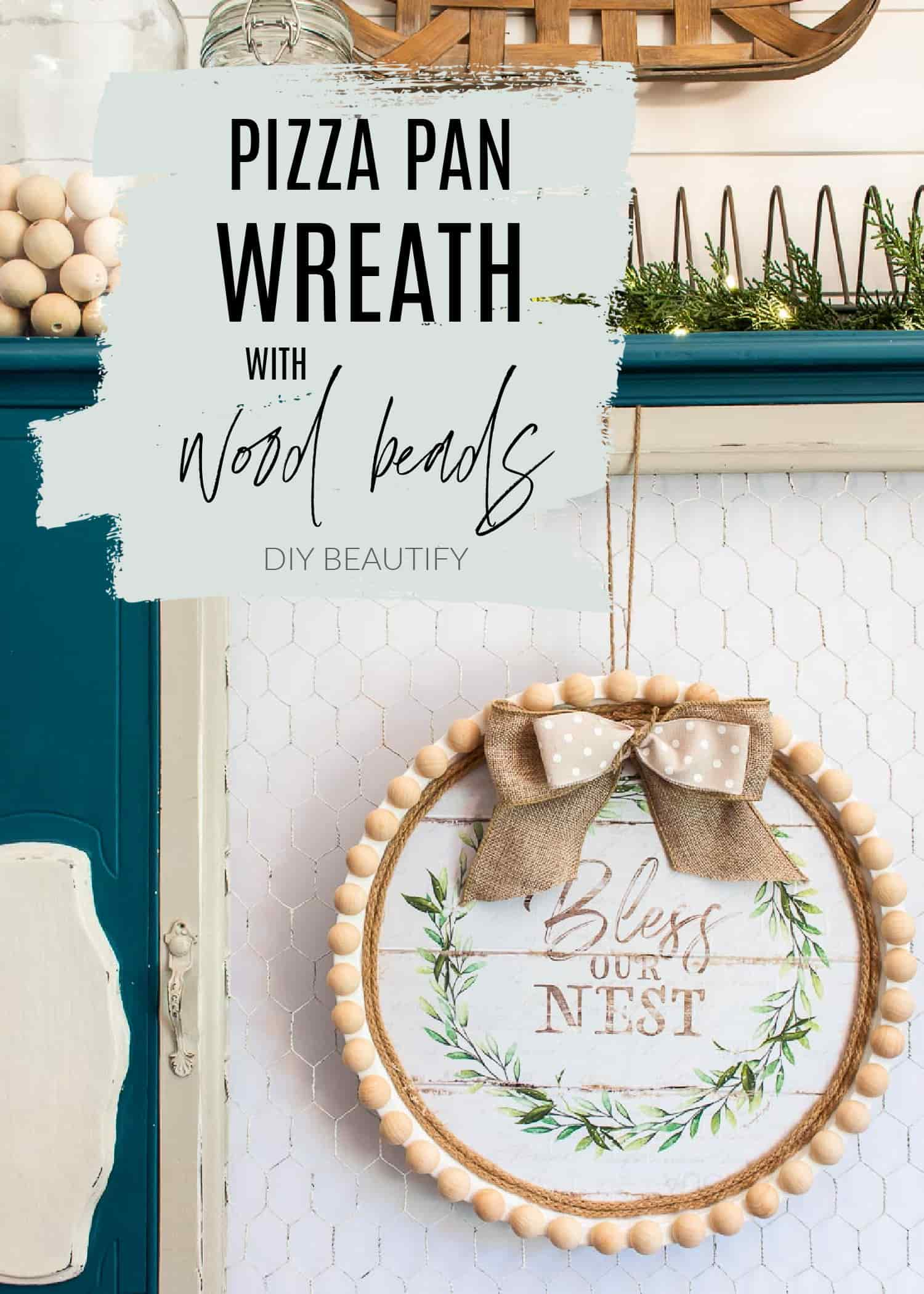pizza pan wreath wall decor craft with split wood beads
