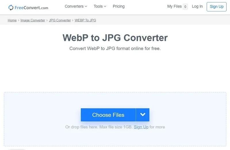 Freeconvert تحويل Webp إلى Jpg