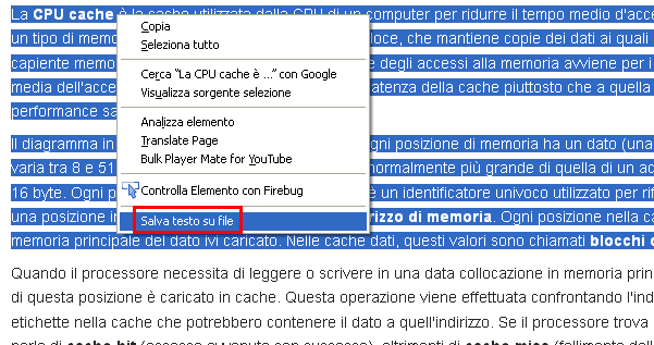 Save Text To File menu contestuale Firefox