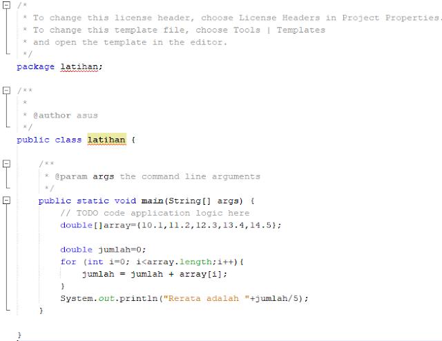 Program menghitung nilai rata rata menggunakan array satu dimensi java