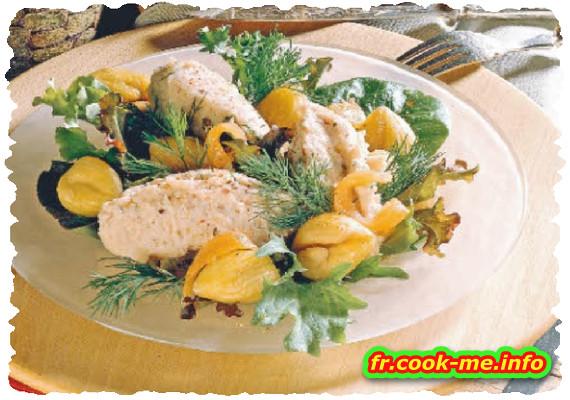 Mousse de chataigne au saumon fumé sur petite salade de mesclun