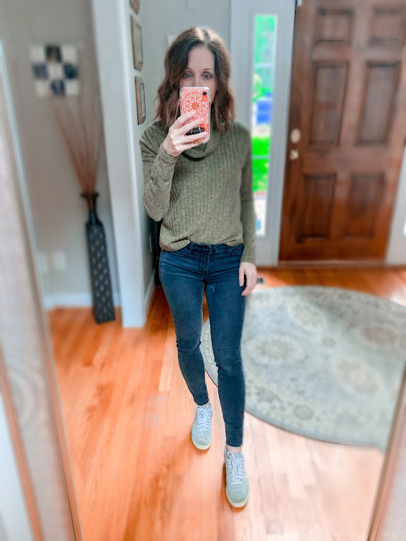 Soft sweater, gray jeans, sneakers