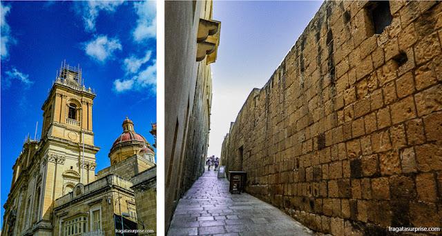 Heranças dos Cruzados em Malta: a Colegiata da Imaculada Conceição, em Bormla (Cospicua) e uma rua da Cittadella, em Gozo