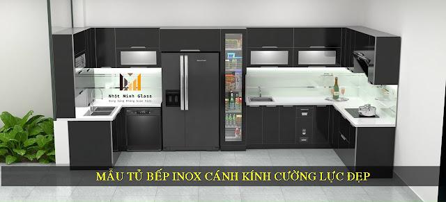 Mẫu Tủ Bếp Inox Cánh Kính Cường Lực Đẹp