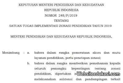 Kepmendikbud 248/P/2019 tentang Satuan Tugas Implementasi Zonasi Pendidikan