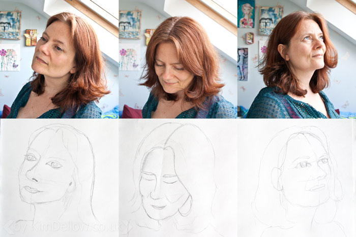 Sketches of head selfie head positions by Kim Dellow