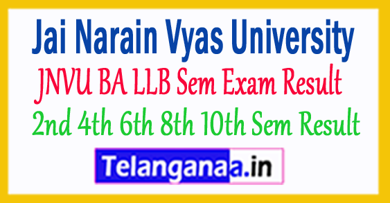 JNVU BA LLB 2nd 4th 6th 8th 10th Sem Result 2018