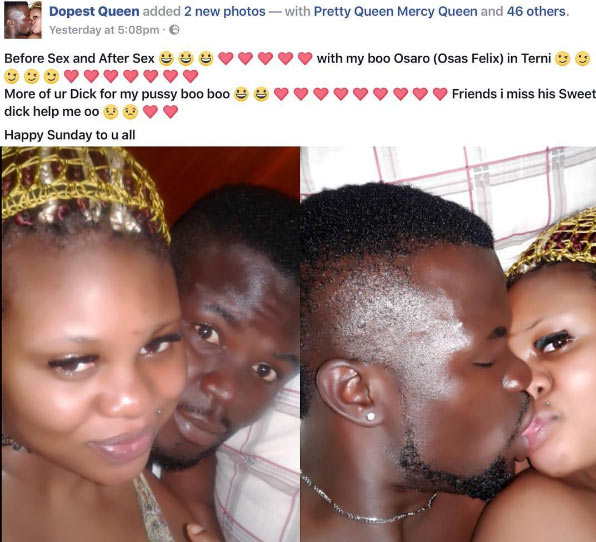 Nigerian lady shares after-sex photo with boyfriend on Facebook, says she misses his manhood