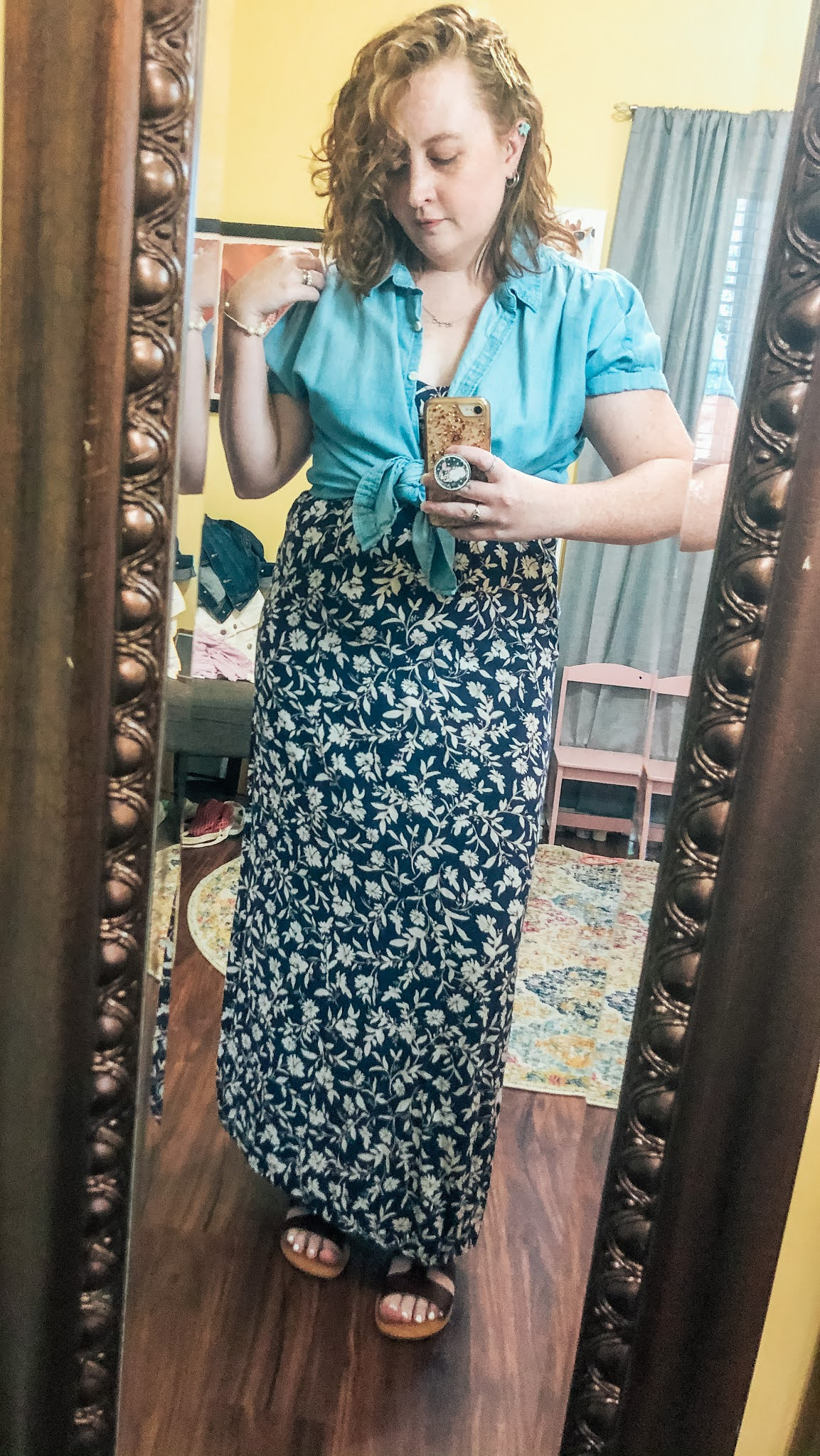 chambray-shirt-tied-over-navy-floral-maxi-dress
