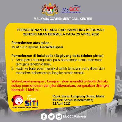 Permohonan Pulang Dari Kampung Ke Rumah Sendiri Menerusi Aplikasi GerakMalaysia