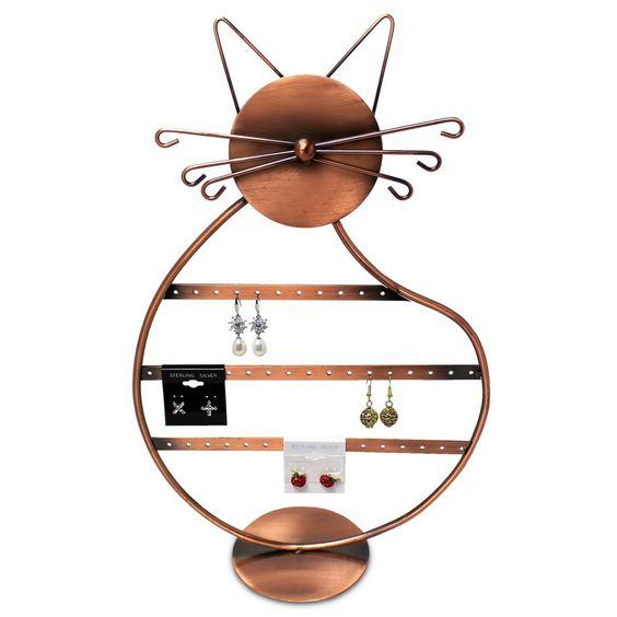 Cat-Shaped Metal Wire Earring Display Stand