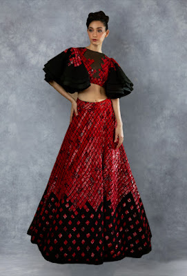 Manish malhotra lehengas black and red squin front side