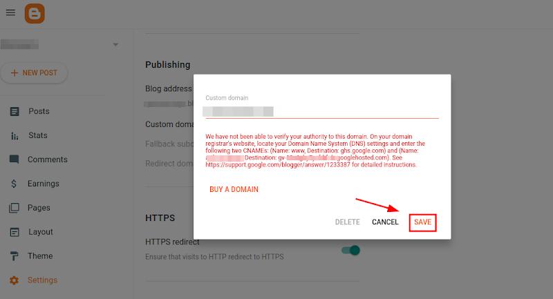 Domain Settings Save