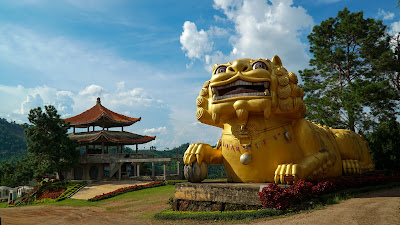 This big lion head structure welcomes you to the tea plantation