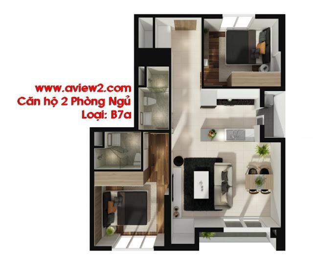 Căn hộ Aview 2 - Mẫu căn hộ 2 phòng ngủ