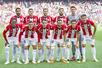 ATHLETIC CLUB DE BILBAO - Temporada 2018-19 - Raúl García, De Marcos, Íñigo Martínez, Yeray y Unai Simón; Williams, Dani García, Beñat, Balenziaga, Susaeta y Yuri Berchiche. F. C. BARCELONA 1 (Munir) ATHLETIC CLUB DE BILBAO 1 (De Marcos). 29/09/2018. Campeonato de Liga de 1ª División, jornada 7. Barcelona, Nou Camp.