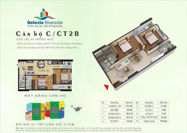 Mặt bằng thiết kế căn hộ C, CT2B Gelexia Riverside