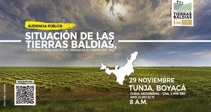 Comisión de Tierras Baldías del Congreso convoca Audiencia en Boyacá